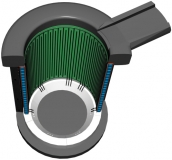 Расположение электродных пластин (зеленые) в индукционной тигельной печи