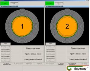 Пример одновременного отображения визуализаций износа двух печей на одном мониторе